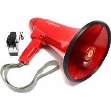 Красный ручной мегафон РМ-20СЗА с аккумулятором